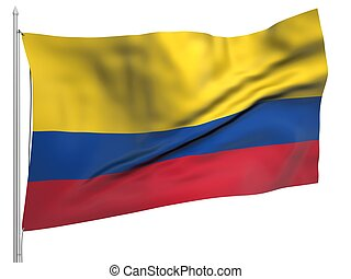Flying Flag of Colombia - All Countries