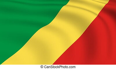Flying Flag of Congo Republic | LOOPED |