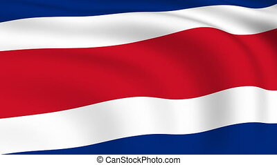 Flying Flag of Costa Rica | LOOPED |