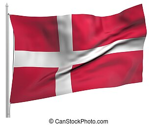 Flying Flag of Denmark - All Countries