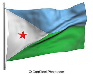 Flying Flag of Djibouti - All Countries