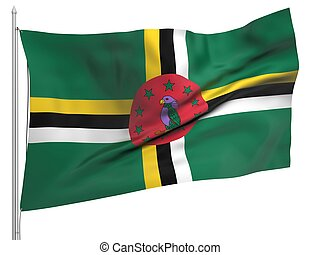 Flying Flag of Dominica - All Countries