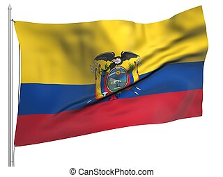 Flying Flag of Ecuador - All Countries