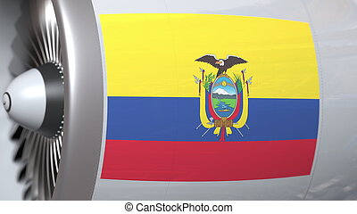 Flying flag of Ecuador on airliner tourbine engine. Aviation related 3D rendering