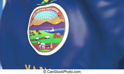 Flying flag of Kansas. Close-up, loopable 3D animation -...