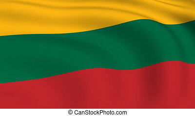 Flying Flag of LITHUANIA | LOOPED |