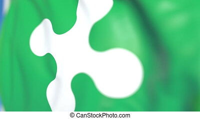 Waving flag of Lombardy, a region of Italy. 3D