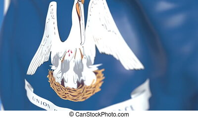 Flying flag of Louisiana. Close-up, loopable 3D animation -...