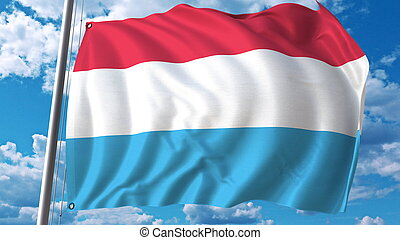 Flying flag of Luxembourg on sky background. 3D rendering