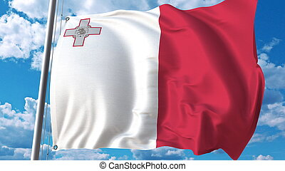 Flying flag of Malta on sky background. 3D rendering