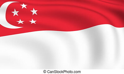 Flying Flag of SINGAPORE | LOOPED |