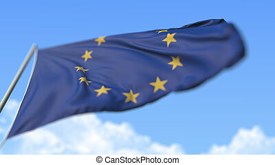Flying flag of the European Union EU, low angle view. 3D rendering