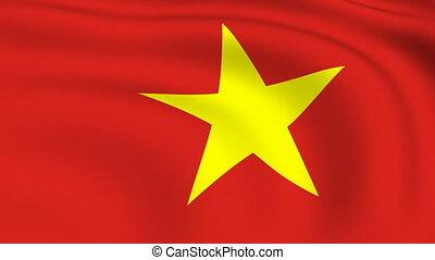 Flying Flag of VIETNAM   LOOPED  