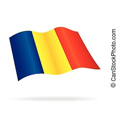 flying flag romania vector