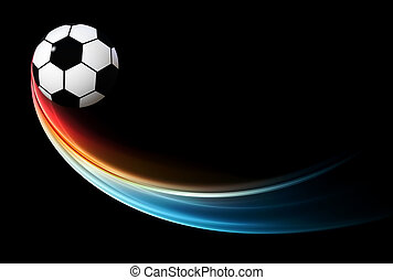 flying flaming football/soccer ball with blue flame
