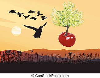 Flying flowering Cherry tree