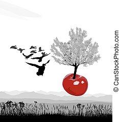 Flying flowering tree Cherry of cherries