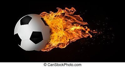 Flying Football or Soccer Ball Engulfed in Flames