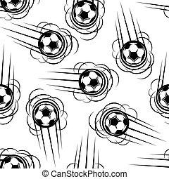 Flying football or soccer balls seamless pattern