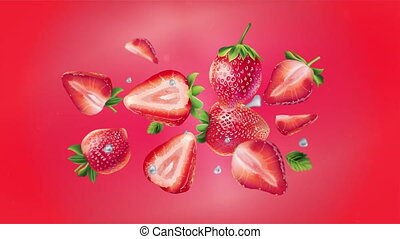 Flying fresh strawberries on a red background.