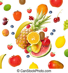 fresh various fruits - Flying fresh various fruits