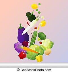 Flying fresh vegetables concept, healthy food background 1