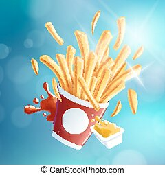 Flying Fries Blue Bokeh Background EPS10