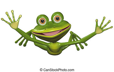 flying frog - illustration a merry green frog in flight