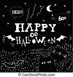 Flying ghost spirit holding bunting flag Boo. Happy Halloween. Scary white ghosts. Cute cartoon spooky character. Smiling face, hands.