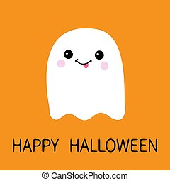Flying ghost spirit showing tongue. Boo. Happy Halloween. Scary white ghosts. Cute cartoon spooky character. Smiling face, cheeks. Orange background Greeting card. Flat design.