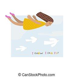 Flying girl sky with birds illustration lettering