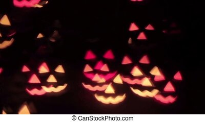 Flying glowing scary pumpkins for Halloween on a black background HD 1920x1080