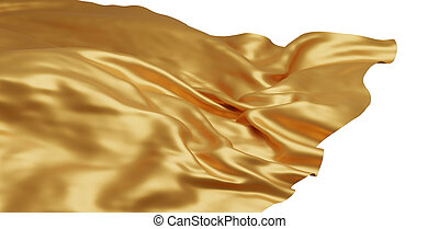 Flying gold cloth isolated on white background 3D render