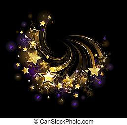Flying gold star - flight shiny , gold stars on a black...