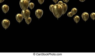 Flying golden balloons transition with alpha channel