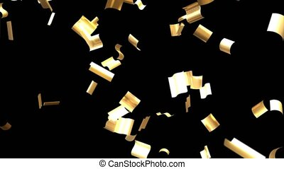 Flying golden confetti. 3D animation in 4k resolution.