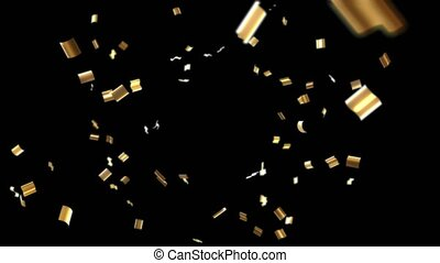Flying golden confetti isolated on black background. 3D animation in 4k resolution (3840 x 2160 px).