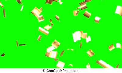 Flying golden confetti, green background. 3D animation in 4k resolution.