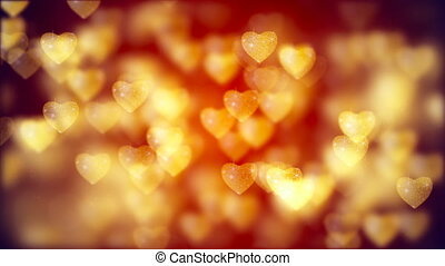 Flying Golden Hearts, Abstract Loopable Background