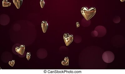 Flying golden hearts on a claret background