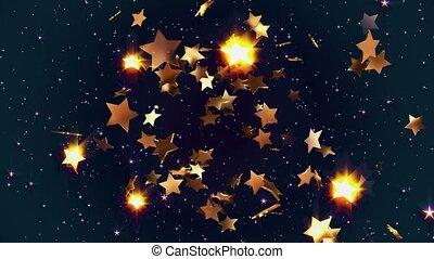 Flying golden stars