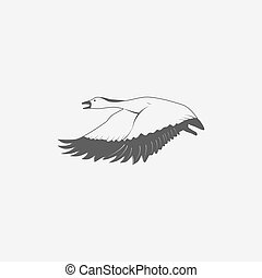 flying goose in grayscale
