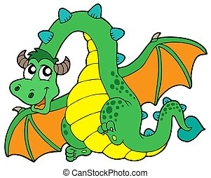 Flying green dragon - isolated illustration.