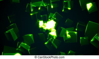 Flying green rectangular cubes