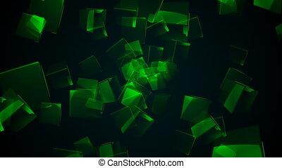 Flying green rectangular cubes. Seamless loop