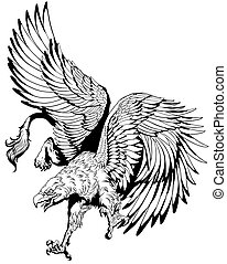 flying griffin black and white