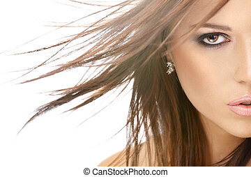 Flying hair - Close up - a half of face of beauty with...