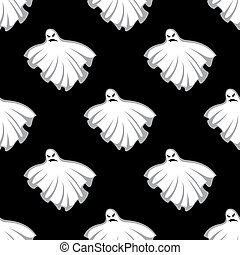 Flying Halloween ghosts seamless pattern