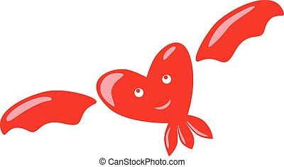 Flying happy heart character