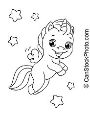 Flying Happy Unicorn Coloring Page